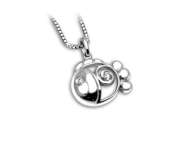 18K White Gold Combination Finished Round Diamond Fillgree Goldfish Pendant W/925 Sterling Silver Chain 18
