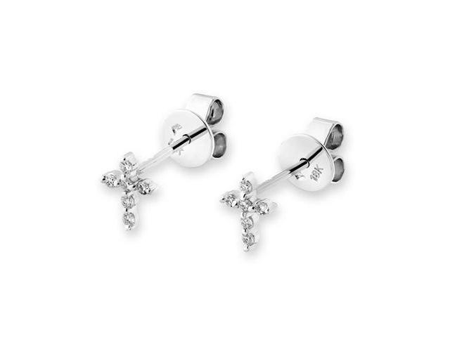 18K White Gold Religious Cross Diamond Accent Stud Earring (0.1cttw, G-H Color, VS2-SI1 Clarity)