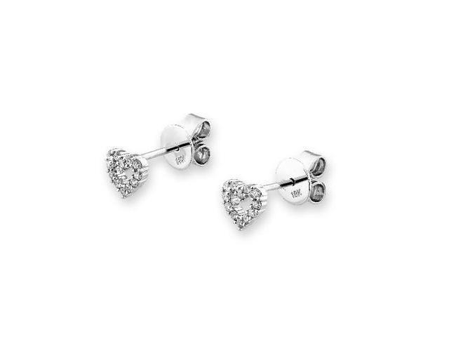 18K White Gold Classic Heart Cross Diamond Stud Earring (0.17cttw, G-H Color, VS2-SI1 Clarity)