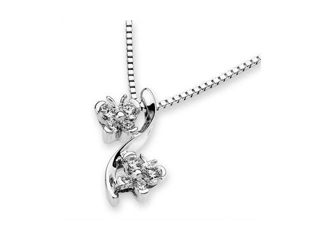 18K White Gold Double Dancing Butterfly Diamond Accent Pendant W/925 Sterling Silver Chain 18