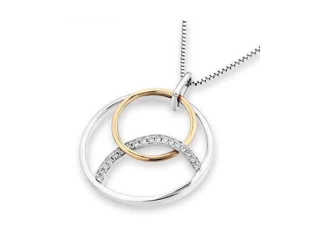 "18K Rose Gold And White Gold Polished Finished 3 Circles Diamond Accentt Pendant w/925 Sterling Silver Chain 18"" (0.08 cttw, ..."