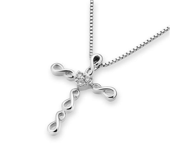 18K White Gold Infinity 3 Stones Diamond Cross Pendant W/925 Sterling Silver Chain 18