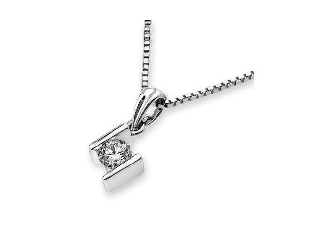 18K White Gold Bar Setting Solitaire Diamond Pendant W/925 Sterling Silver Chain 18