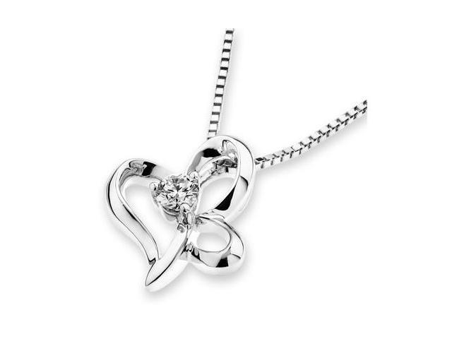 18K White Gold Dancing Butterfly Solitaire Diamond Pendant W/925 Sterling Silver Chain 18