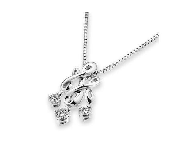 18K White Gold Gothic Style 3 Stone Dangling Diamonds Pendant W/925 Sterling Silver Chain 18