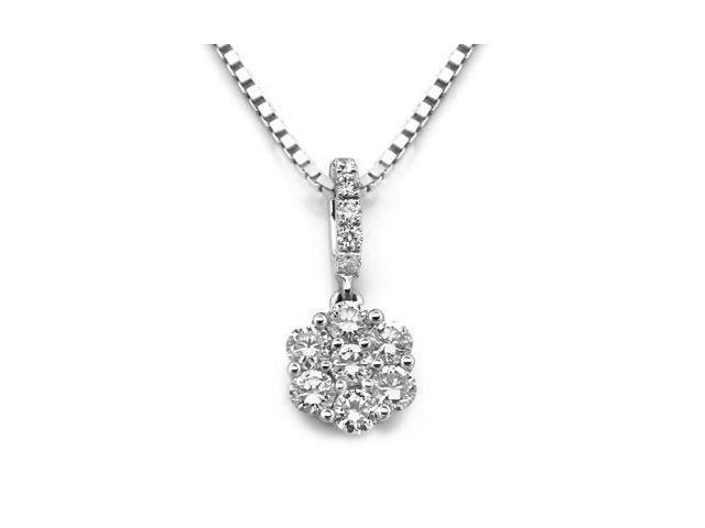 "18K White Gold Illusion Setting Diamond Pendant W/925 Sterling Silver Chain 18"" (0.30 carats, G-H color, SI1-2 Clarity)"