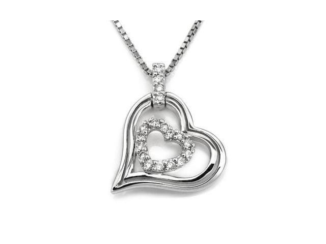 18K White Gold Hollow Double Heart Diamond Accent Pendant W/925 Sterling Silver Chain 18