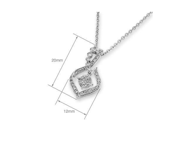 18K White Gold Journey Illusion Setting Diamond Pendant - W/925 Sterling Silver Chain 18""