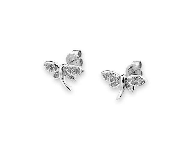 18K White Gold Dragonfly Pave Setting Diamond Accent Earrings (0.18 cttw, G-H Color, VS2-SI1 Clarity)