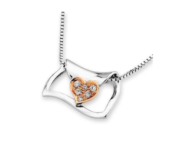"""18K/750 (2 Tones) Rose And White Gold Love Letter With Heart Diamond Pendant w/925 Sterling Silver Chain 18"""" (0.05cttw, G-H ..."""