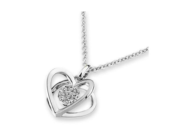 "18K White Gold 3D Heart Diamond Pendant w/925 Sterling Silver Chain 18"" (0.12cttw, G-H color, good SI1-SI2 Clarity)"