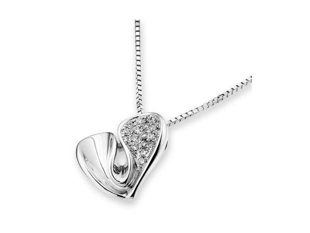 """18K White Gold Heart Diamond Cluster Pendant w/925 Sterling Silver Chain 18"""" (0.17cttw, G-H color, good SI1-SI2 Clarity)"""