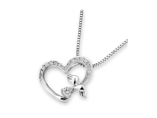 18K White Gold Heart With Anglw of Wing Diamond Pendant w/925 Sterling Silver Chain 18