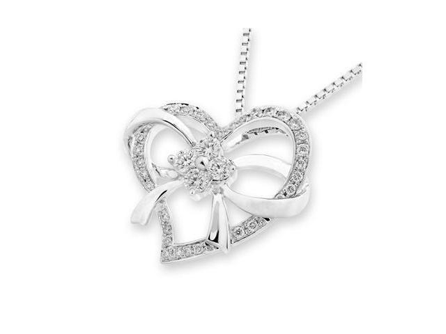 "18K White Gold Ribbon Bow Heart Diamond Pendant w/925 Sterling Silver Chain 18"" (0.32cttw, G-H color, good SI1-SI2 Clarity)"