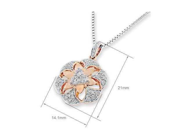 18K (2 Tones) Rose and White Gold 3D Filligree Flower Diamond Pendant w/925 Sterling Silver Chain 18