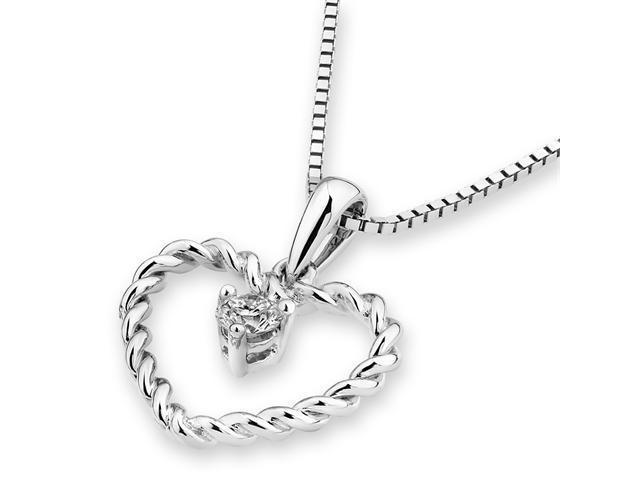18K Diamond Cut White Gold Dynamic Heart Diamond Pendant W/925 Sterling Silver Chain 18