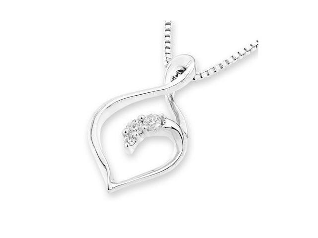 18K White Gold 3 Stones Infinity Diamond Pendant W/925 Sterling Silver Chain 18