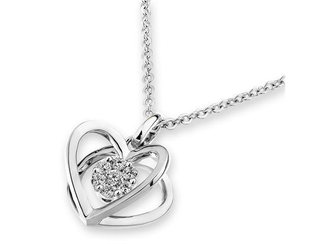 "18K White Gold Diamond 3D Heart Shape Pendant W/925 Sterling Silver Chain 18"" (0.12cttw, G-H color, good SI1-SI2 Clarity)"