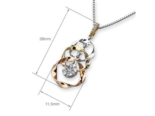 18K Rose Yellow White Gold Illusion Setting Diamond Dynamic Motion 3 Circles Pendant W/925 Sterling Silver Chain 18