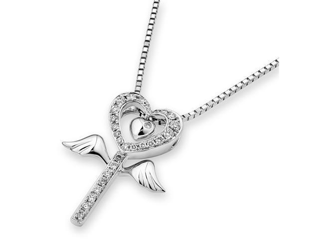 18K White Gold Diamond Key With Angel Wing Pendant W/925 Sterling Silver Chain 18