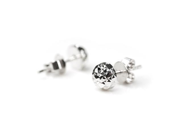14K White Gold Half Ball Diamond-Cut Stud Earrings - Size 10 mm