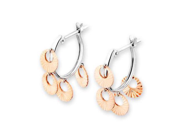 14K/585 Rose And White Gold Dangling Flower Drop Diamond-Cut Hoop Earrings