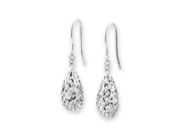 14K White Gold Filigree Star Dangling Fishhook Earrings