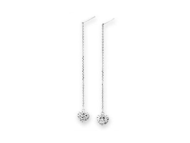 14K/585 White Gold Filigree Hearts Drop Earrings