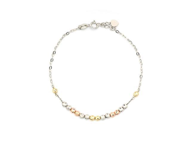 14K Tri-Color Gold Diamond Cut Beads Bracelet (6.5