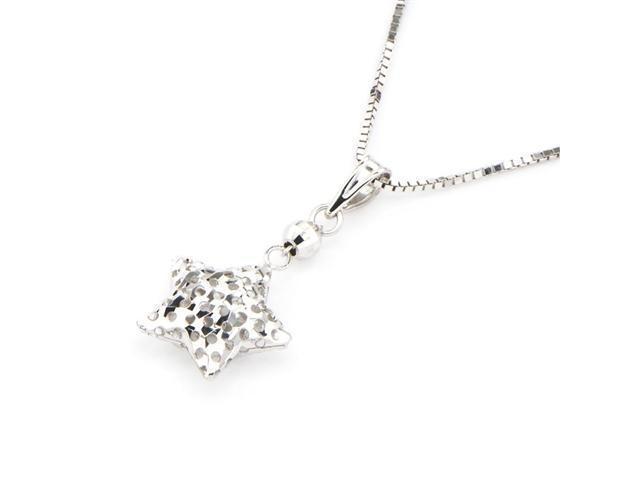 14K White Gold Filigree Star Necklace, 16