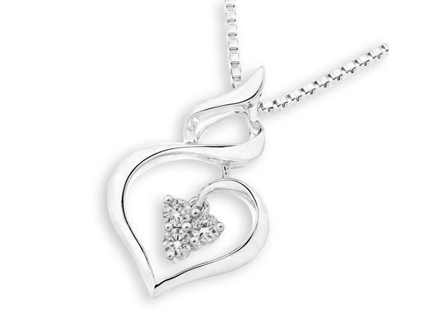 "18K/750 White Gold Polished Finish 3 Stones Infinity Heart Diamond Pendant W/925 Sterling Silver Chain 18"" (0.08 carats, ..."