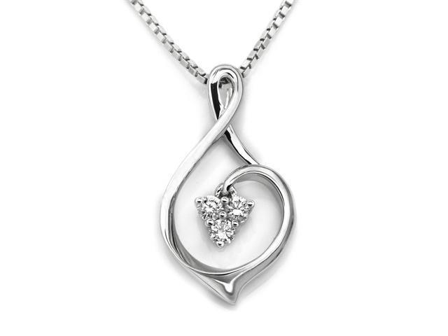 """18K White Gold Polished Finish 3 Stones Infinity Diamond Pendant W/925 Sterling Silver Chain 18"""" (0.08 carats, G-H color, ..."""