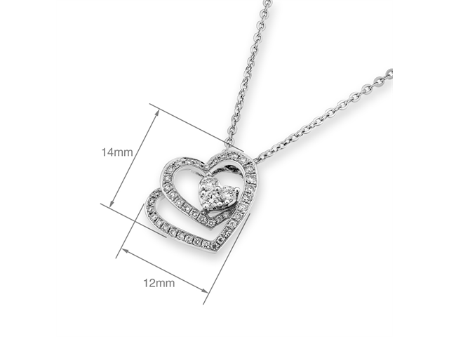 "18K/750 White Gold Stacker Hearts Diamond Pendant w/925 Sterling Silver Chain 16"" (0.32cttw, G-H color, good SI1-SI2 Clarity)"