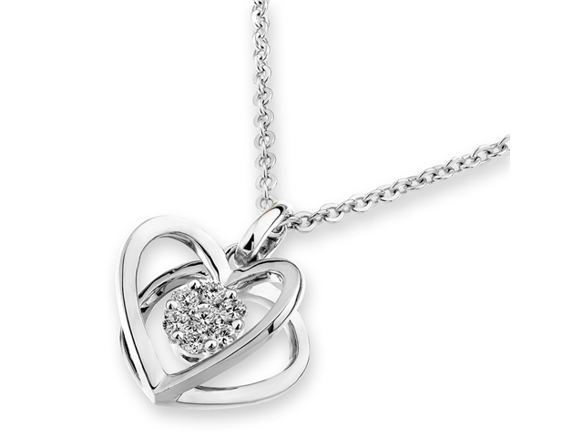 "18K White Gold Diamond 3D Heart Shape Pendant W/925 Sterling Silver Chain 16"" (0.12cttw, G-H color, good SI1-SI2 Clarity)"