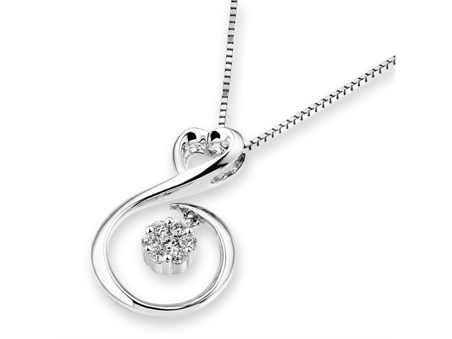 "18K/750 White Gold Illusion Setting Diamond Heart Pendant W/925 Sterling Silver Chain 16"" (0.13cttw, G-H color, good SI1-SI2 ..."