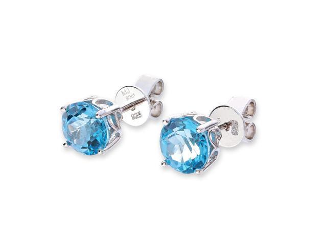 B06034E 7mm Round Blue Topaz Sterling Silver Filigree Back Stud Earrings