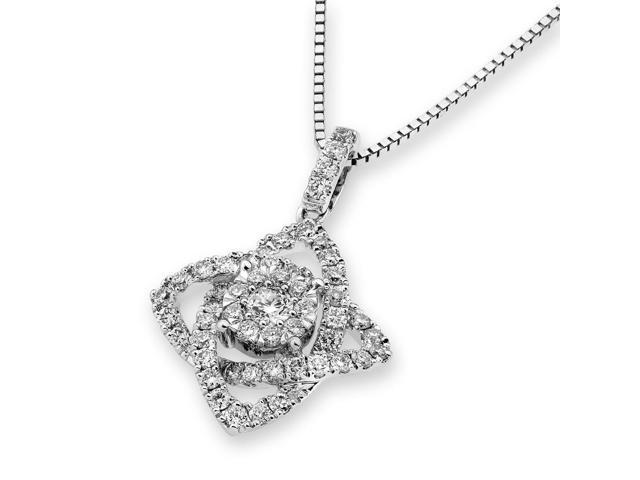 18K White Gold Cluster Diamond Pendant W/Silver Chain (0.55ct,G-H Color,VS2-SI1 Clarity)