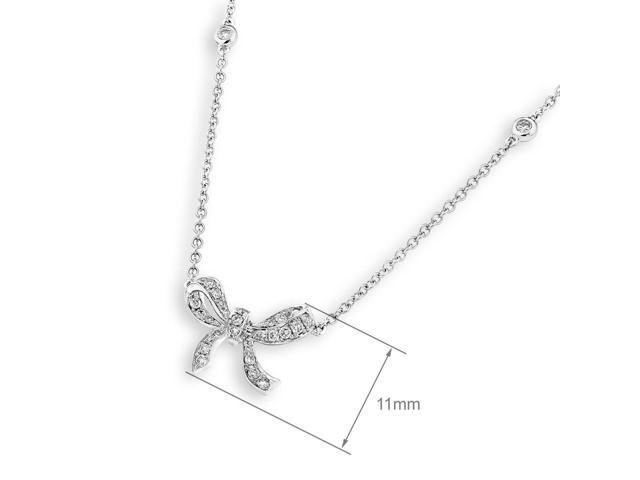 18K White Gold Ribbon Bow Diamond Accent Necklace (0.27 cttw , G-H Color, SI1-SI2 Clarity 16