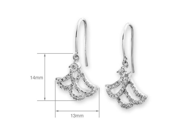 18K White Gold Bee Diamond Fishhook Earrings (0.41 cttw, G-H Color, SI1-SI2 Clarity)