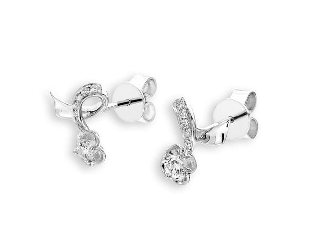 18K White Gold Flower Solitaire Diamond Stud Earrings (0.25 cttw, G-H Color, SI1-SI2 Clarity)
