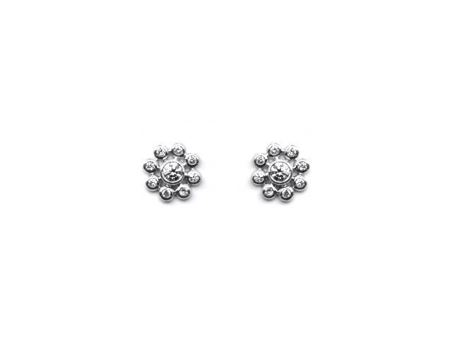 9K White Gold Sun Flower Diamond Stud Earrings (0.17 cttw, G-H Color, SI1-SI2 Clarity)