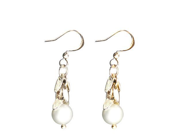 JA-ME Shell Base Pearl Pierced Earring with Leaf Design in 18K Gold Plated.
