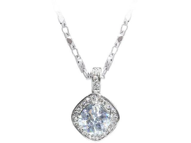 JA-ME 4ct / 10*10mm Cubic Zirconia Pendant and Swarovski Diamond Crystals with 16