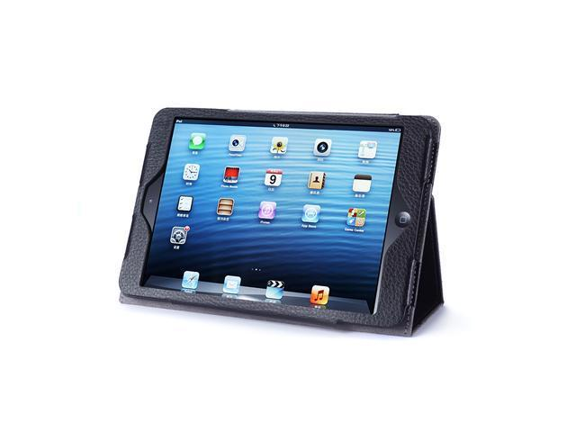 Acase Leather Case for iPad Mini w/ Buit-in Flip Stand & Support for Smart Cover Function (Black)