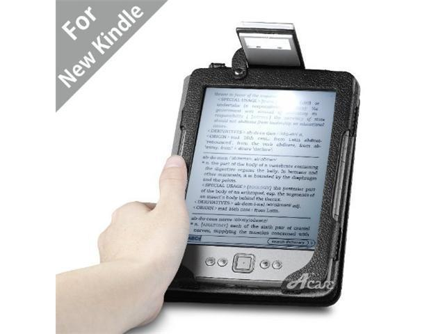 Acase(TM) Lighted Kindle 4 (No Touch) Leather Case (Black)