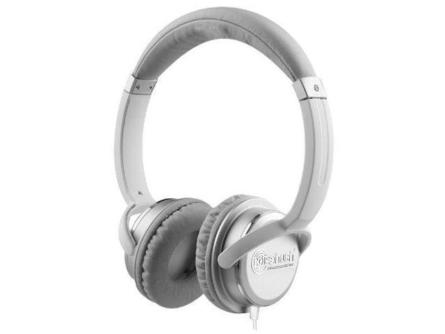 NoiseHush NX26-11853 3.5mm Stereo Headphones - White/Silver
