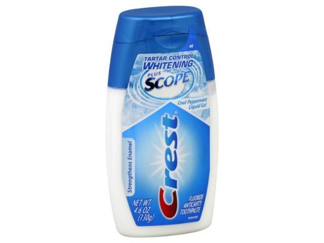 Crest Tartar Control Whitening Plus Scope Toothpaste, Anticavity Fluoride, Cool Peppermint, Liquid Gel, 4.6 oz.