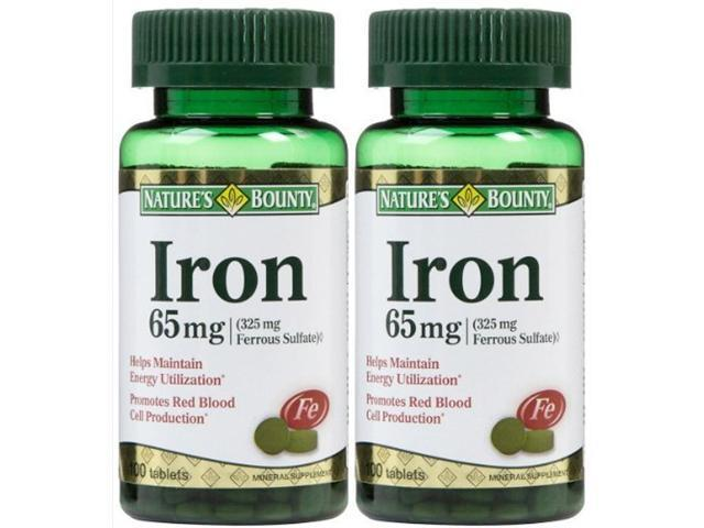 Nature's Bounty Iron 65 mg Ferrous Sulfate Tabs, 100 ct