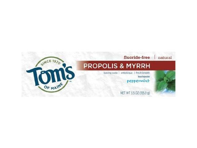 Tom's of Maine Antiplaque Fluoride-free Peppermint Baking Soda Toothpaste with Propolis and Myrrh, 5.5-Ounce (Pack of 2)