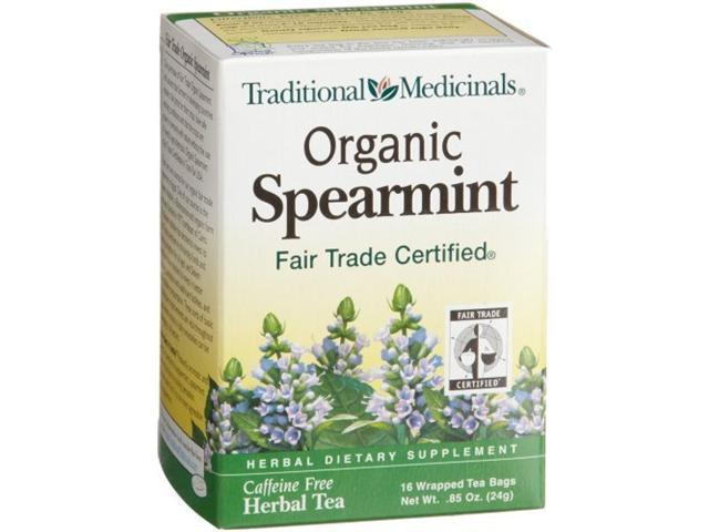 Traditional Medicinals Organic Fair Trade Certified Spearmint Herbal Tea, 16-Count Wrapped Tea Bags (Pack of 6)